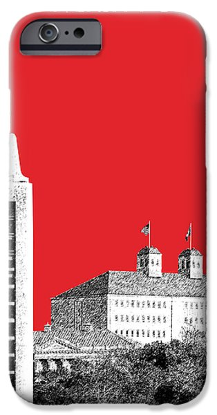 Pen And Ink iPhone Cases - University of Kansas - Red iPhone Case by DB Artist