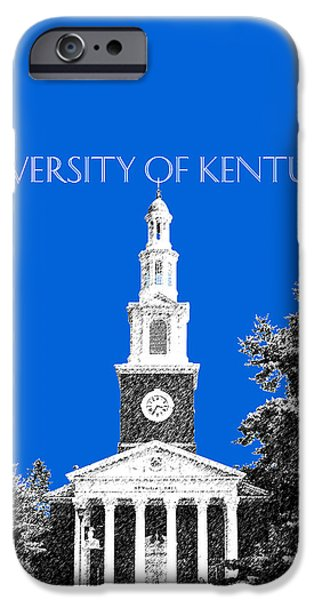 Pen And Ink iPhone Cases - University of Kentucky - Blue iPhone Case by DB Artist