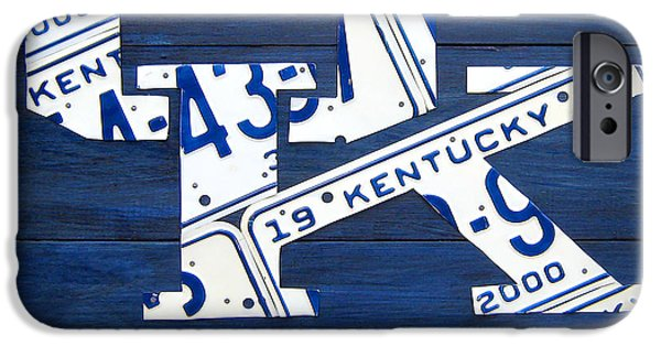 University iPhone Cases - University of Kentucky Wildcats Sports Team Retro Logo Recycled Vintage Bluegrass State License Plate Art iPhone Case by Design Turnpike
