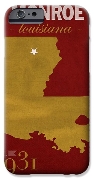 Warhawk iPhone Cases - University of Louisiana Monroe Warhawks College Town State Map Poster Series No 058 iPhone Case by Design Turnpike