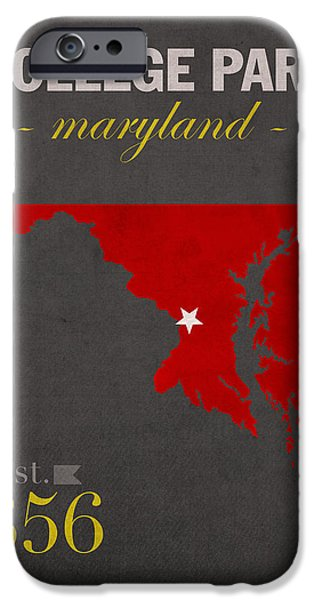 University iPhone Cases - University of Maryland Terrapins College Park College Town State Map Poster Series No 061 iPhone Case by Design Turnpike