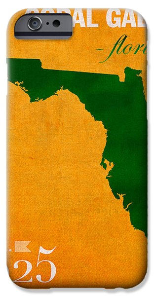 University Of Miami iPhone Cases - University of Miami Hurricanes Coral Gables College Town Florida State Map Poster Series No 002 iPhone Case by Design Turnpike