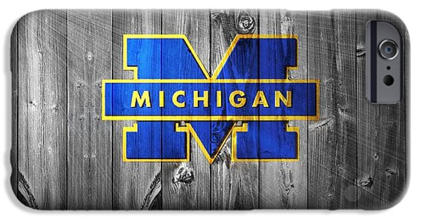 Universities Mixed Media iPhone Cases - University Of Michigan iPhone Case by Dan Sproul