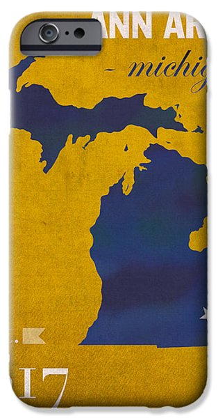 University iPhone Cases - University of Michigan Wolverines Ann Arbor College Town State Map Poster Series No 001 iPhone Case by Design Turnpike
