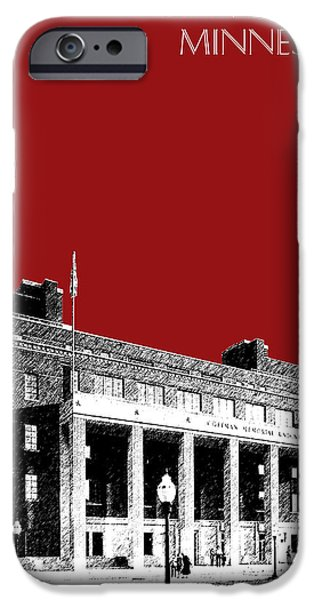 Universities Digital iPhone Cases - University of Minnesota - Coffman Union - Dark Red iPhone Case by DB Artist