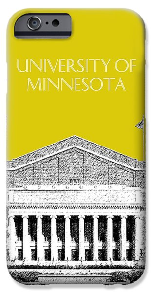 Universities Digital iPhone Cases - University of Minnesota 2 - Northrop Auditorium - Mustard Yellow iPhone Case by DB Artist