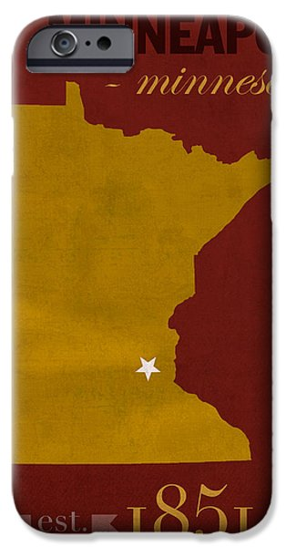 Minnesota iPhone Cases - University of Minnesota Golden Gophers Minneapolis College Town State Map Poster Series No 066 iPhone Case by Design Turnpike