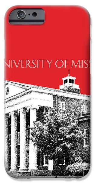 Pen And Ink iPhone Cases - University of Mississippi - Red iPhone Case by DB Artist