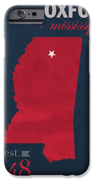 University iPhone Cases - University of Mississippi Ole Miss Rebels Oxford College Town State Map Poster Series No 067 iPhone Case by Design Turnpike