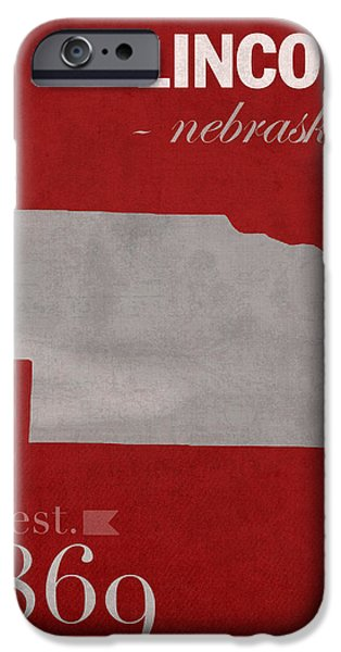 Nebraska iPhone Cases - University of Nebraska Lincoln Cornhuskers College Town State Map Poster Series No 071 iPhone Case by Design Turnpike