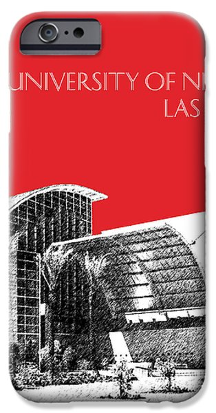 Pen And Ink iPhone Cases - University of Nevada Las Vegas - Red iPhone Case by DB Artist
