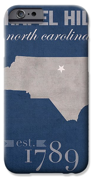 University iPhone Cases - University of North Carolina Tar Heels Chapel Hill UNC College Town State Map Poster Series No 076 iPhone Case by Design Turnpike
