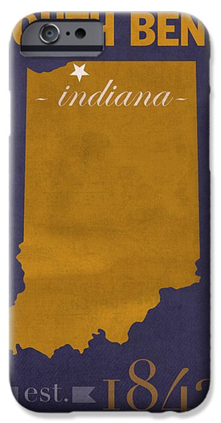 Universities Mixed Media iPhone Cases - University of Notre Dame Fighting Irish South Bend College Town State Map Poster Series No 081 iPhone Case by Design Turnpike