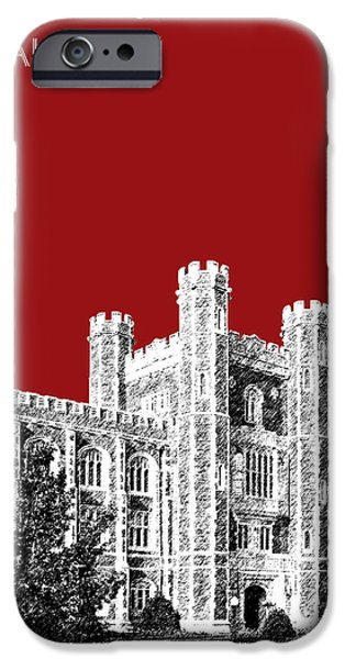 Pen And Ink Digital Art iPhone Cases - University of Oklahoma - Dark Red iPhone Case by DB Artist