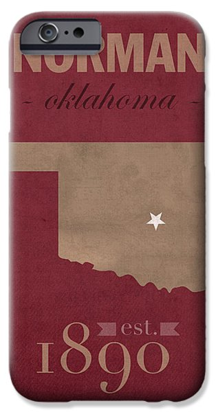 University iPhone Cases - University of Oklahoma Sooners Norman College Town State Map Poster Series No 083 iPhone Case by Design Turnpike
