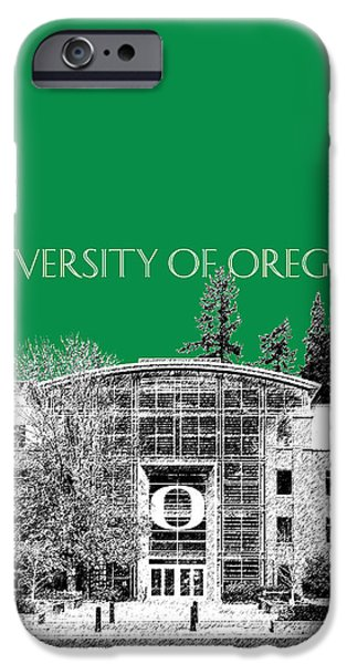 Pen And Ink Digital Art iPhone Cases - University of Oregon - Forest Green iPhone Case by DB Artist