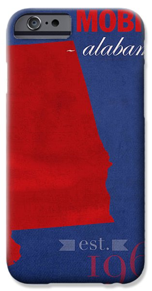 University Of Alabama iPhone Cases - University of South Alabama Jaguars Mobile College Town State Map Poster Series No 095 iPhone Case by Design Turnpike
