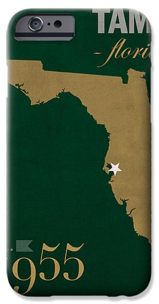 Bulls Mixed Media iPhone Cases - University of South Florida Bulls Tampa Florida College Town State Map Poster Series No 101 iPhone Case by Design Turnpike