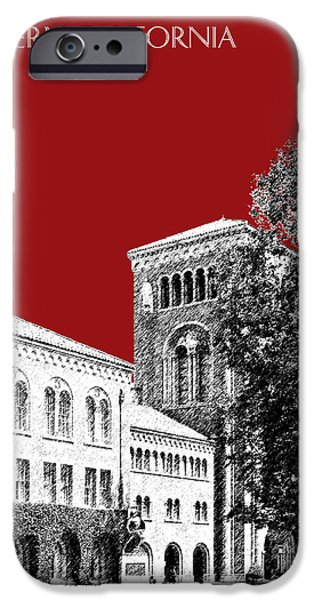 Pen And Ink iPhone Cases - University of Southern California - Dark Red iPhone Case by DB Artist