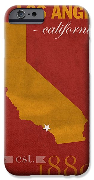 California State Map iPhone Cases - University of Southern California Trojans Los Angeles College Town State Map Poster Series No 097 iPhone Case by Design Turnpike