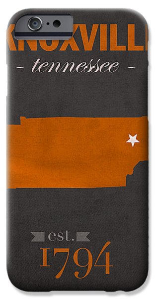 University iPhone Cases - University of Tennessee Volunteers Knoxville College Town State Map Poster Series No 104 iPhone Case by Design Turnpike