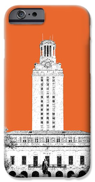 Pen And Ink iPhone Cases - University of Texas - Coral iPhone Case by DB Artist