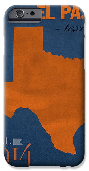 At Poster Mixed Media iPhone Cases - University of Texas at El Paso UTEP Miners College Town State Map Poster Series No 110 iPhone Case by Design Turnpike