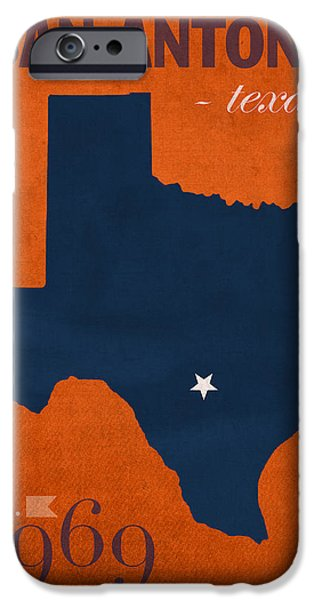 At Poster Mixed Media iPhone Cases - University of Texas at San Antonio Roadrunners College Town State Map Poster Series No 111 iPhone Case by Design Turnpike