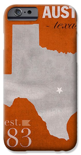 Texas Longhorn iPhone Cases - University of Texas Longhorns Austin College Town State Map Poster Series No 105 iPhone Case by Design Turnpike