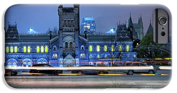 Historic Site iPhone Cases - University of Toronto Winter Night iPhone Case by Charline Xia