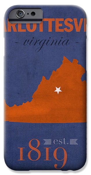 University iPhone Cases - University of Virginia Cavaliers Charlotteville College Town State Map Poster Series No 119 iPhone Case by Design Turnpike