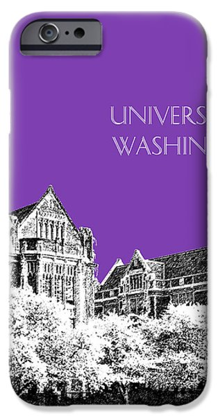 Huskies Digital Art iPhone Cases - University of Washington 2 - The Quad - Purple iPhone Case by DB Artist