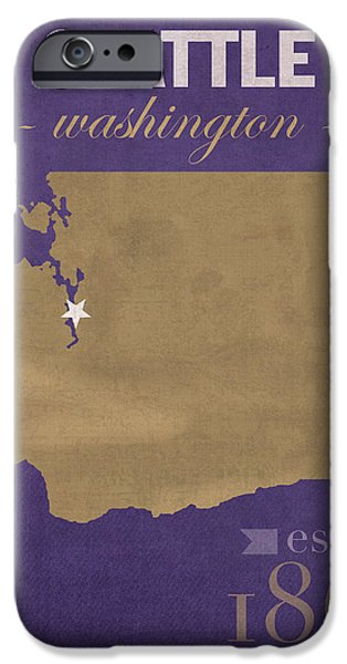 Husky iPhone Cases - University of Washington Huskies Seattle College Town State Map Poster Series No 122 iPhone Case by Design Turnpike