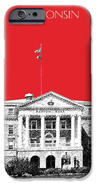 Pen And Ink iPhone Cases - University of Wisconsin - Red iPhone Case by DB Artist