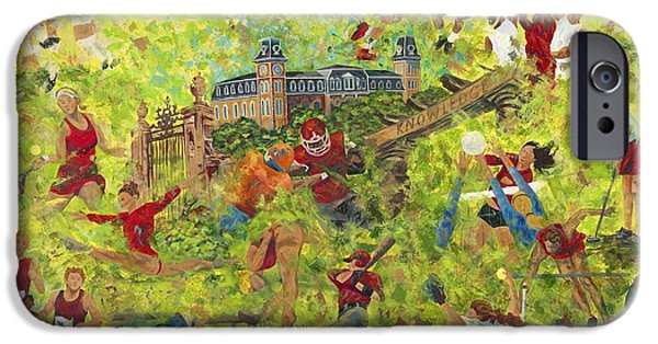 Softball Paintings iPhone Cases - University Proud iPhone Case by Shawna Elliott