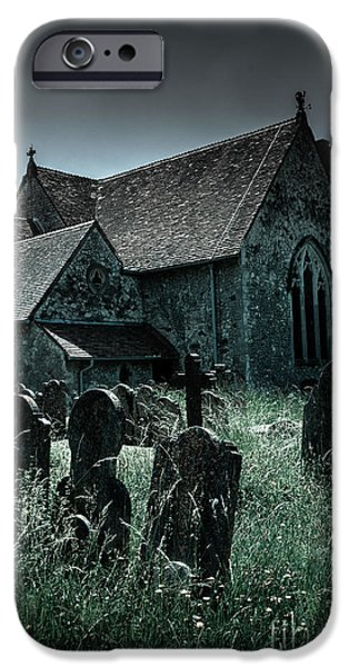 Overruns iPhone Cases - unkempt overgrown gravestones in the churchyard of St Marys chu iPhone Case by Peter Noyce