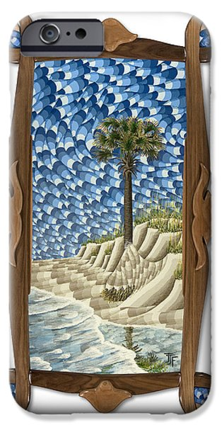 Beach Landscape Sculptures iPhone Cases - Unrelenting with original frame iPhone Case by John Jameson Frost