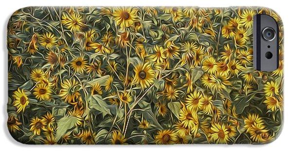 Jeff Swanson iPhone Cases - Untamed Sunflowers iPhone Case by Jeff Swanson