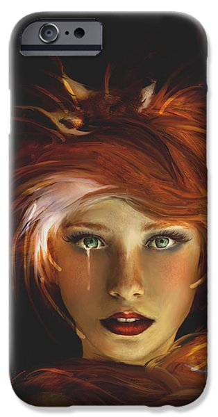 Recently Sold -  - Abstract Digital Mixed Media iPhone Cases - Untamed The Redhead and the Fox iPhone Case by Jaimy Mokos