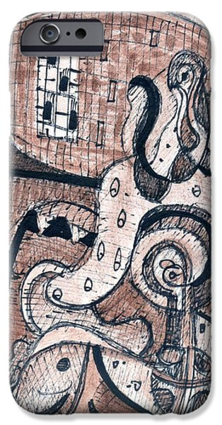 Sepia Ink Drawings iPhone Cases - Untitled #3 March 12 2004 iPhone Case by Stephen Lucas