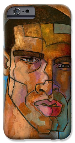 Figures Paintings iPhone Cases - Untitled Male Head August 2012 iPhone Case by Douglas Simonson