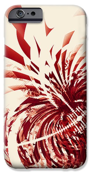 Abstract Digital Digital Art iPhone Cases - Untitled Red iPhone Case by Scott Norris