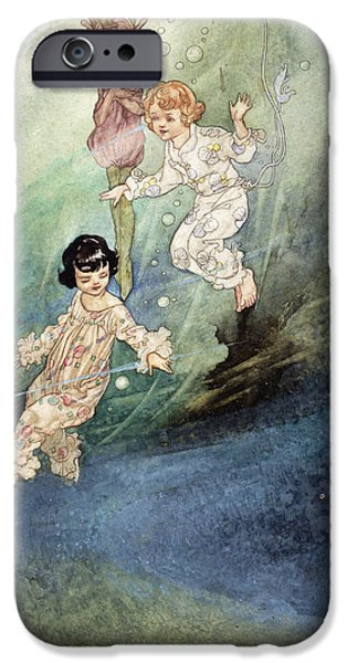 Fairy Tale iPhone Cases - Untitled Watercolour, Children Underwater With An Elf iPhone Case by Charles Robinson