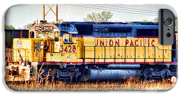 Horse iPhone Cases - UP 3428 RCL Locomotive in color iPhone Case by Bill Kesler