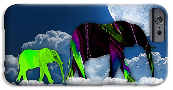 Elephants iPhone Cases - Up In The Clouds iPhone Case by Marvin Blaine