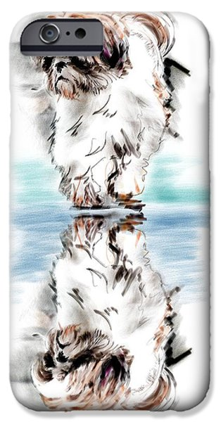 Recently Sold -  - Puppy Digital iPhone Cases - Up Or Down iPhone Case by Richard Okun