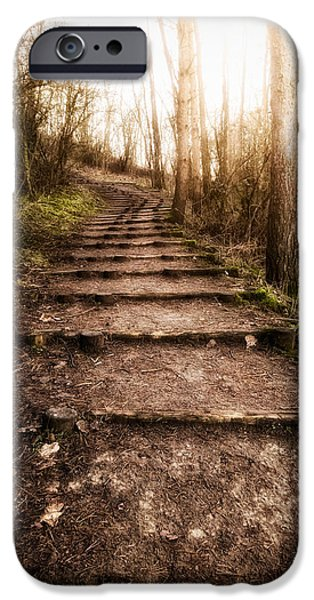 Pathway iPhone Cases - Up the Hill iPhone Case by Wim Lanclus
