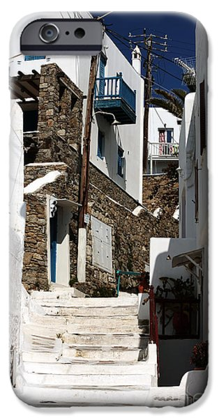 Up the White Stairs in Mykonos iPhone Case by John Rizzuto