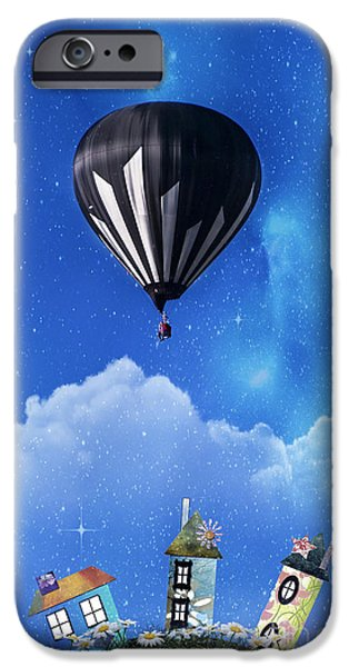 Hot Air Balloon iPhone Cases - Up through the atmosphere iPhone Case by Juli Scalzi