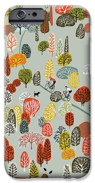 Contemporary Art Drawings iPhone Cases - Uphill iPhone Case by Eliza Southwood